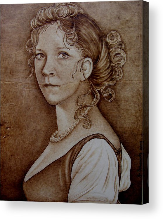 Pyrography Acrylic Print featuring the pyrography Queen Of Prussia by Jo Schwartz