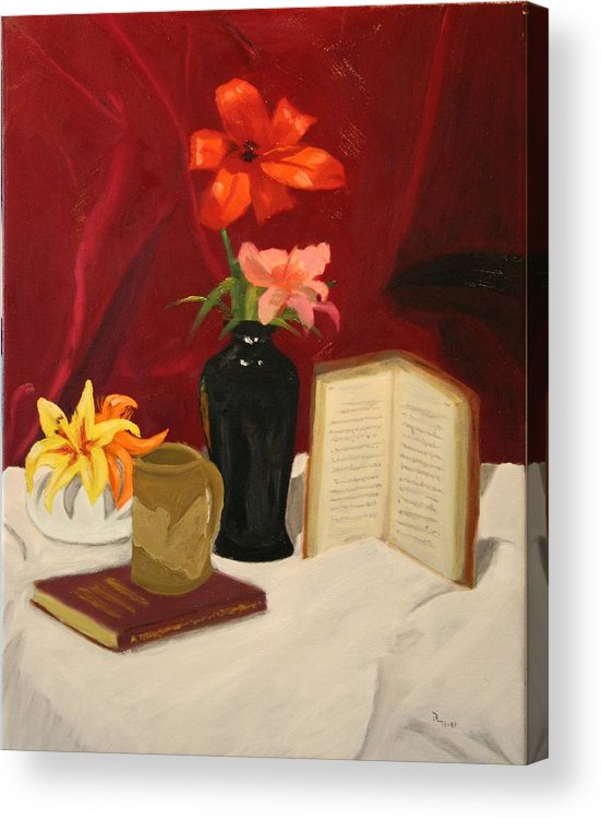 Still Life Acrylic Print featuring the painting Quiet Spot by Robert Tower