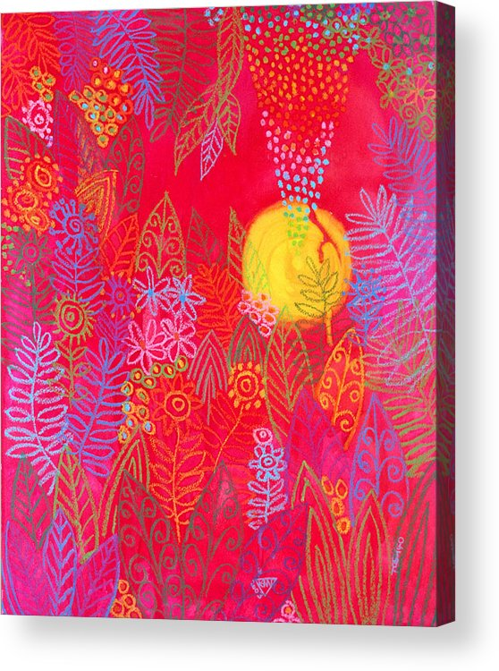 Red Jungle Sun Passion Tropical Exotic Carribean Acrylic Print featuring the painting Red Jungle Passionate Sun by Jennifer Baird