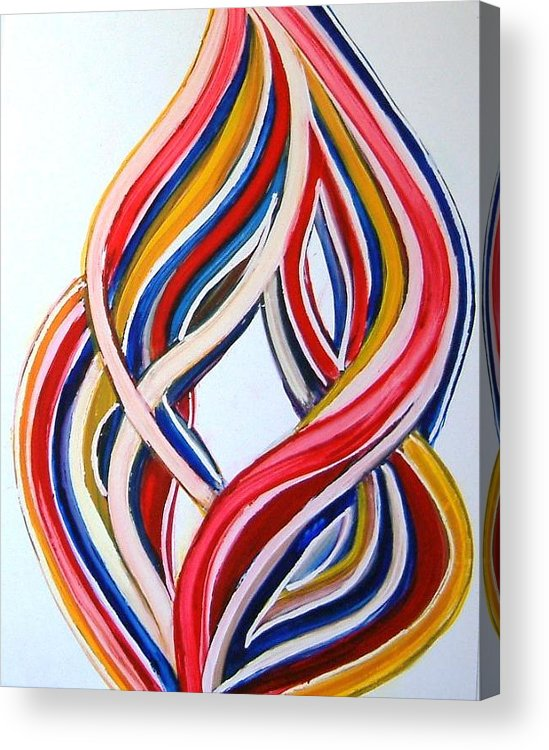 Abstract Modern Contemporary Pop Romantic Love Colourful Red Yellow Blue White Acrylic Print featuring the painting Ribbons Of Love-multicolour by Manjiri Kanvinde