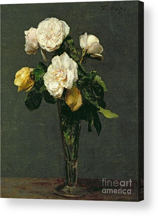 Roses Acrylic Print featuring the painting Roses In A Champagne Flute by Ignace Henri Jean Fantin-Latour