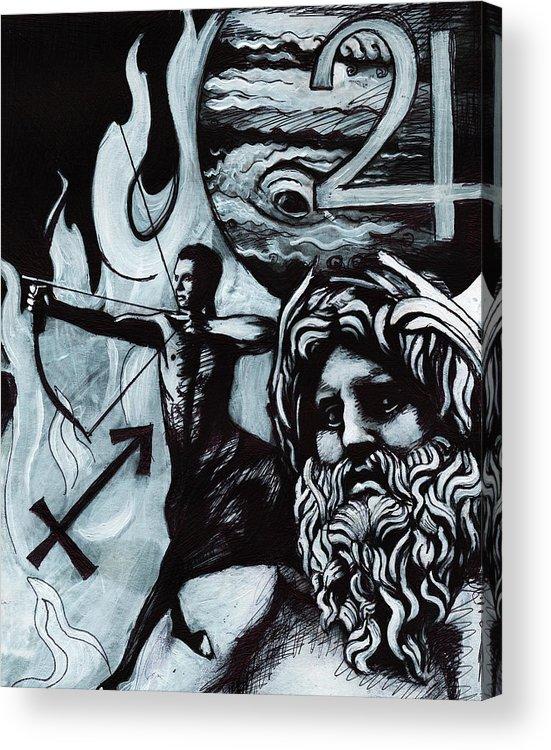 Sagittarius Zeus Zodiac Acrylic Print by Stephen Humphries
