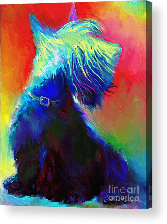 Scottish Terrier Painting Acrylic Print featuring the painting Scottish Terrier Dog Painting by Svetlana Novikova