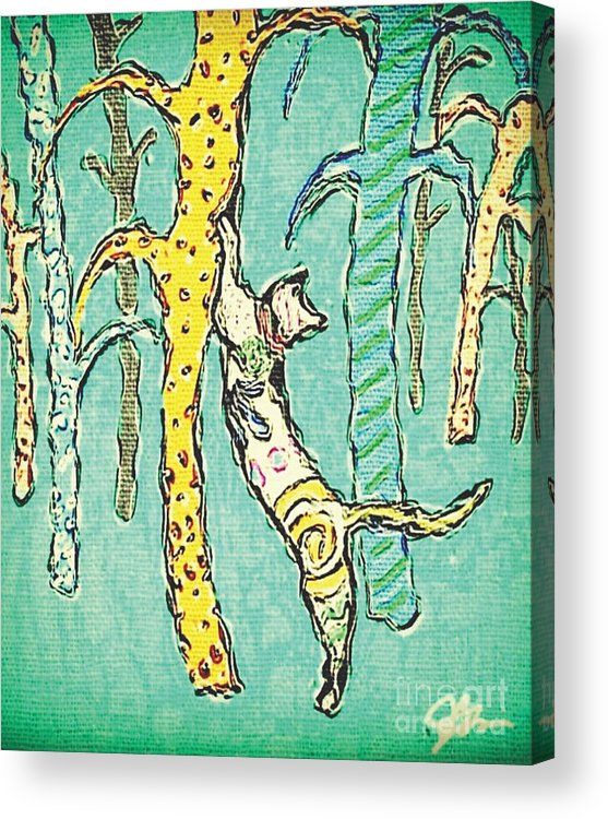 Jbwatkins Acrylic Print featuring the painting Scratching Post by Jerry Watkins
