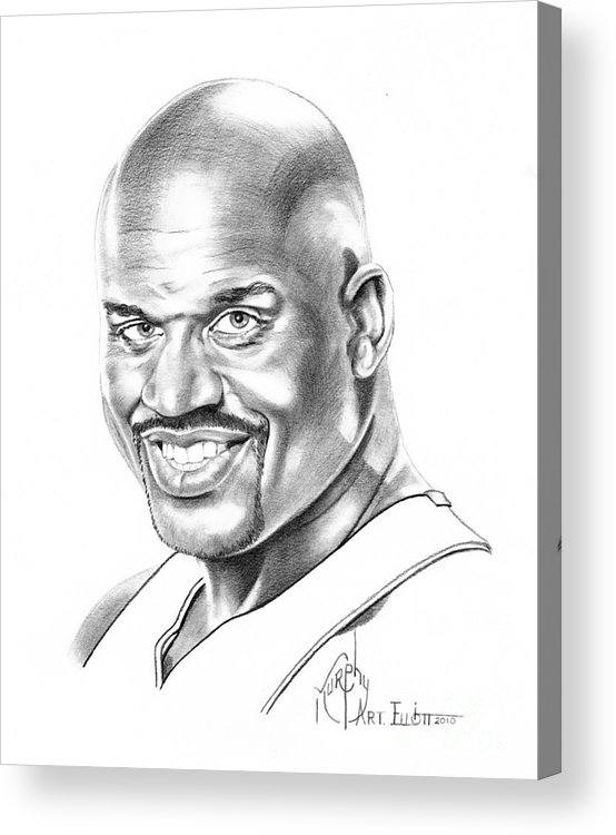 Basketball Acrylic Print featuring the drawing Shaquille O'neal by Murphy Elliott