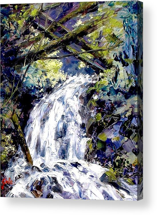 Landscape Acrylic Print featuring the painting Shepherds Dell Falls Coumbia Gorge Or by Jim Gola