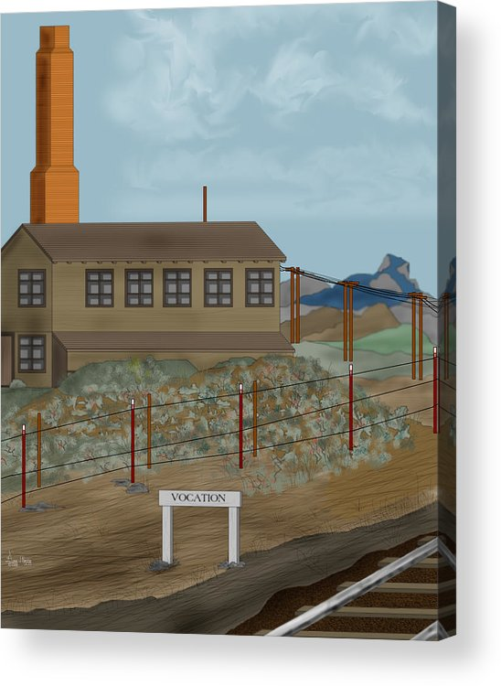 Camp Vocation Acrylic Print featuring the painting Smokestack And Heart Mountain At Camp Vocation by Anne Norskog