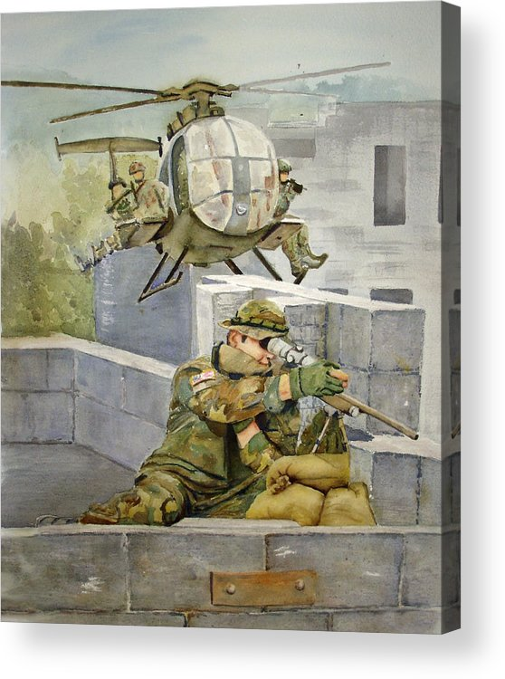 Soldier Acrylic Print featuring the painting Sniper Military Tribute by Kerra Lindsey