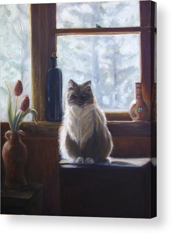 Pets Acrylic Print featuring the painting Soaking Up The Sun by Tahirih Goffic