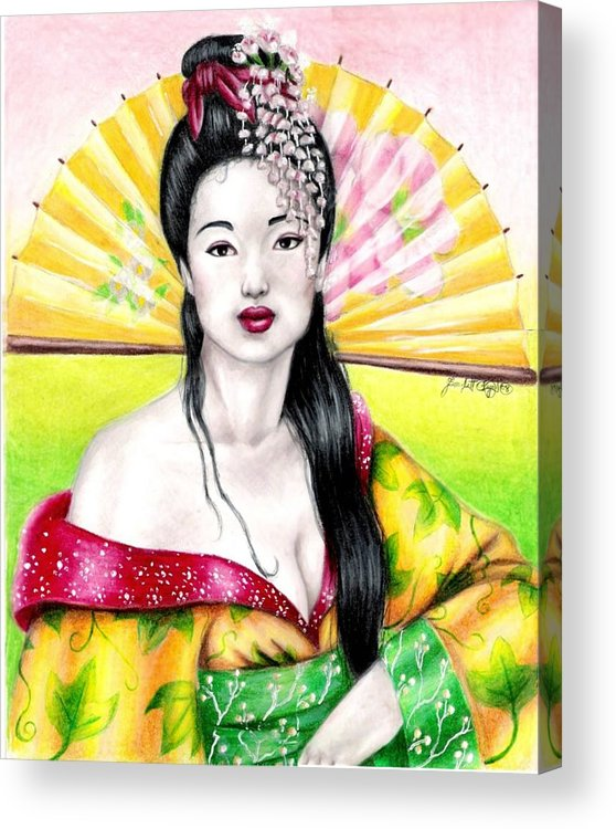 Geisha Acrylic Print featuring the drawing Spring Geisha by Scarlett Royal