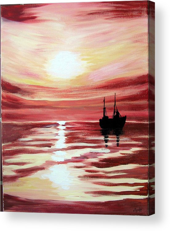 Seascape Acrylic Print featuring the painting Still Waters Run Deep by Marco Morales