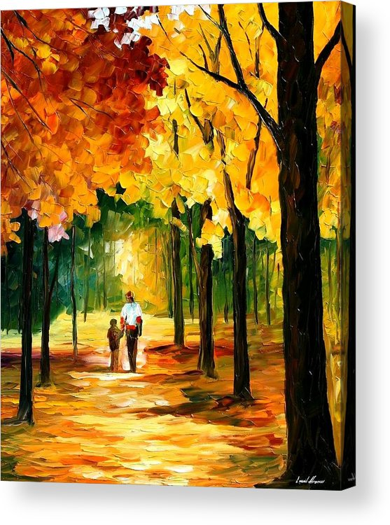 Afremov Acrylic Print featuring the painting Stroll In The Forest by Leonid Afremov