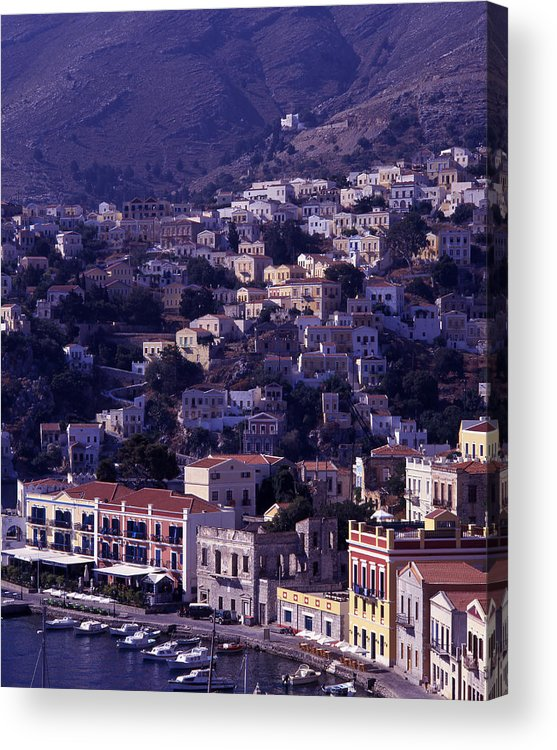 Europe; Greece; Greek Islands; Mediterranean; Dodecanese; Symi; Town; Simi; Yialos; Landscape Acrylic Print featuring the photograph Symi by Steve Outram