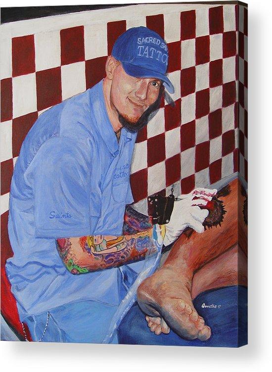 Tattoo Acrylic Print featuring the painting Tattoo Artist - Brandon Notch by Quwatha Valentine