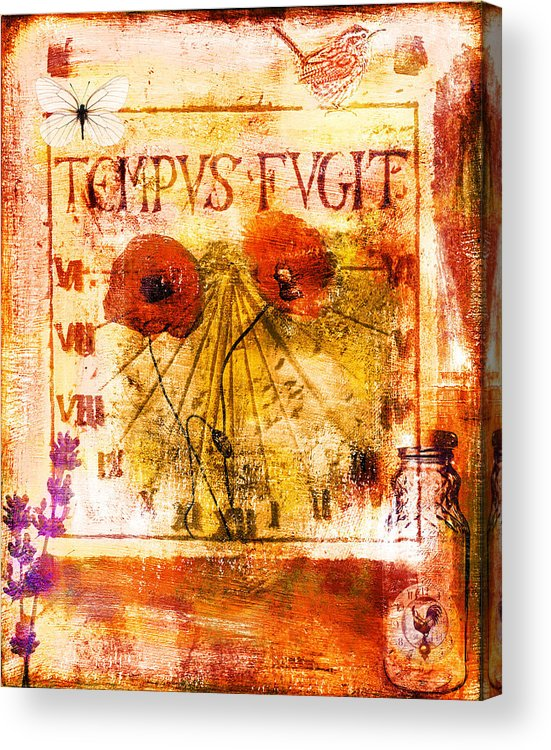 Collage Acrylic Print featuring the painting Tempus Fugit by Jude Reid