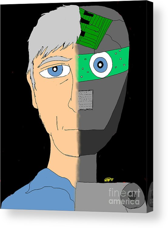 Man Acrylic Print featuring the digital art The Android- Douglas Kerrigan by Karli Martin