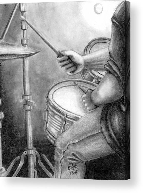Drummer Acrylic Print featuring the drawing The Drummer by Scarlett Royal