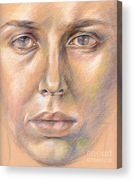 Drawing Acrylic Print featuring the digital art The Face In The Miror by Iglika Milcheva-Godfrey