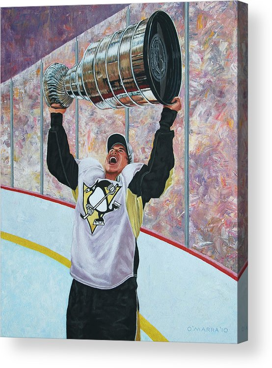 Sidney Crosby Acrylic Print featuring the painting The Kid And The Cup by Allan OMarra