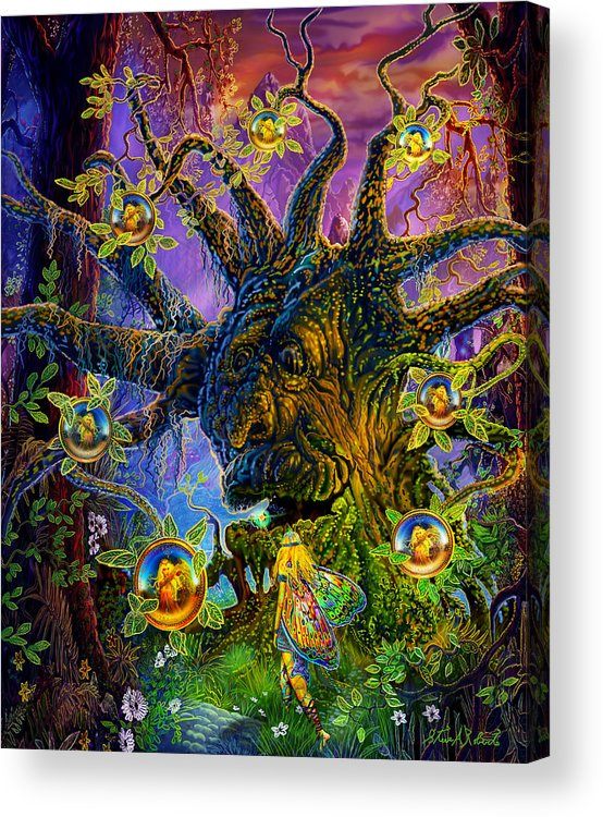 Fairy Art Acrylic Print featuring the painting The Old Tree Of Dreams by Steve Roberts