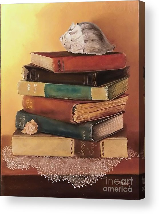Books Acrylic Print featuring the painting The Stack by Patricia Lang