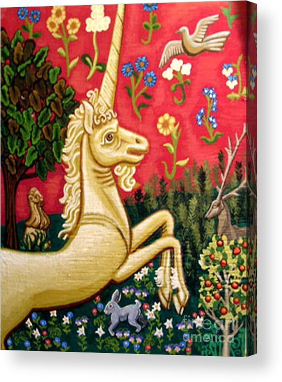 Unicorn Acrylic Print featuring the painting The Unicorn by Genevieve Esson