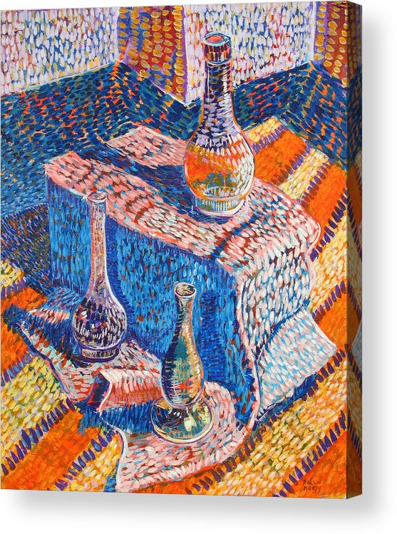 Still Life Acrylic Print featuring the painting Three Simple Vases by Rollin Kocsis