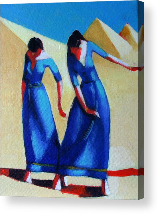 Figure Acrylic Print featuring the painting Two Dancers With Three Pyramids by Ihab Bishai