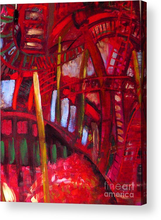 Urban Landscape Acrylic Print featuring the painting Underneath The Bridges by Angelina Marino