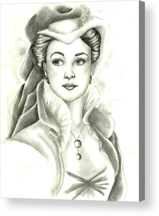 Vivien Lee Acrylic Print featuring the drawing Vivien by Scarlett Royal