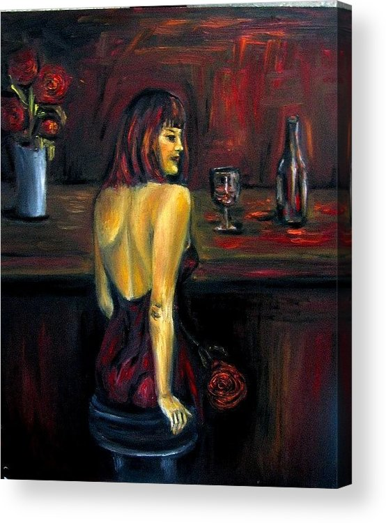 Woman Acrylic Print featuring the painting Waiting... Oil Painting  by Natalja Picugina