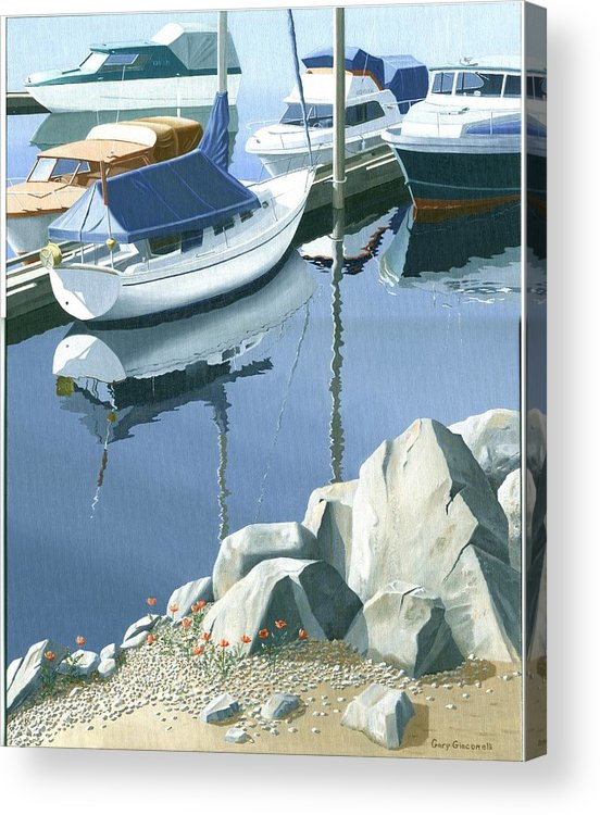 Sailboat Acrylic Print featuring the painting Wildflowers On The Breakwater by Gary Giacomelli