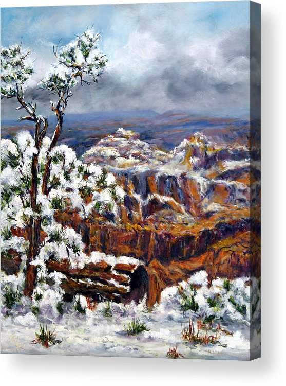 Landscape Acrylic Print featuring the painting Winter Canyon by Thomas Restifo