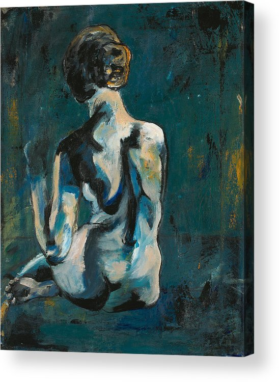 Acrylic Print featuring the painting Woman In Blue by Allison Gammon