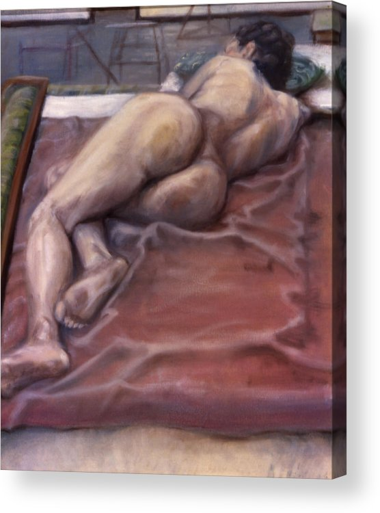 Woman Acrylic Print featuring the painting Woman On Blanket by John Clum