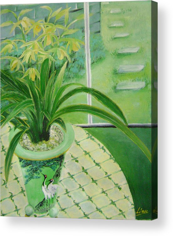 Floral Acrylic Print featuring the painting Yellow Orchids by Lian Zhen