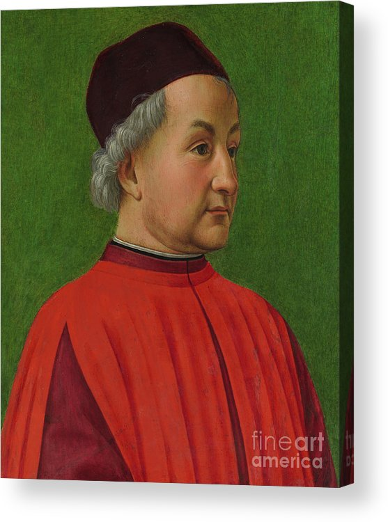 Ghirlandaio Acrylic Print featuring the painting Portrait Of A Man by Domenico Ghirlandaio