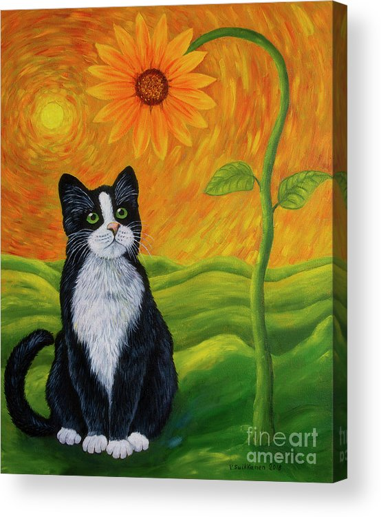 Animal Acrylic Print featuring the painting Cat And Sunflower by Veikko Suikkanen