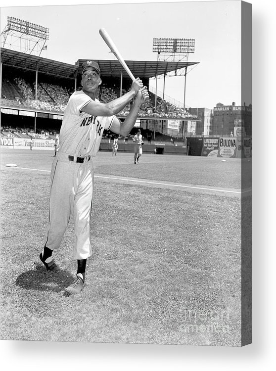 People Acrylic Print featuring the photograph New York Giants Vs. Brooklyn Dodgers by Kidwiler Collection