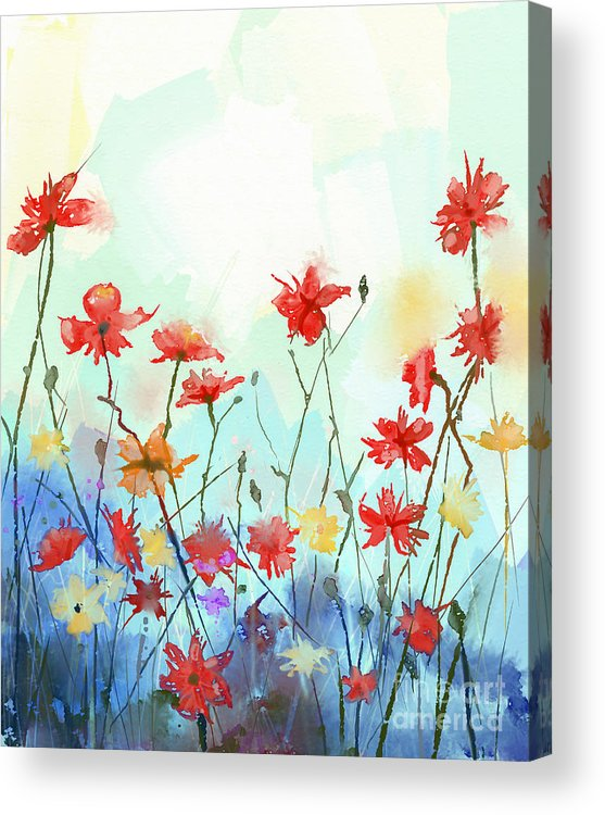 Delicate Acrylic Print featuring the digital art Watercolor Flowers Painting In Soft by Pluie r