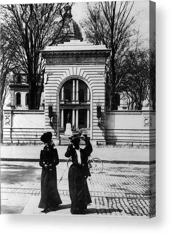 Arch Acrylic Print featuring the photograph Women Outside The Concord State Capitol by Keystone