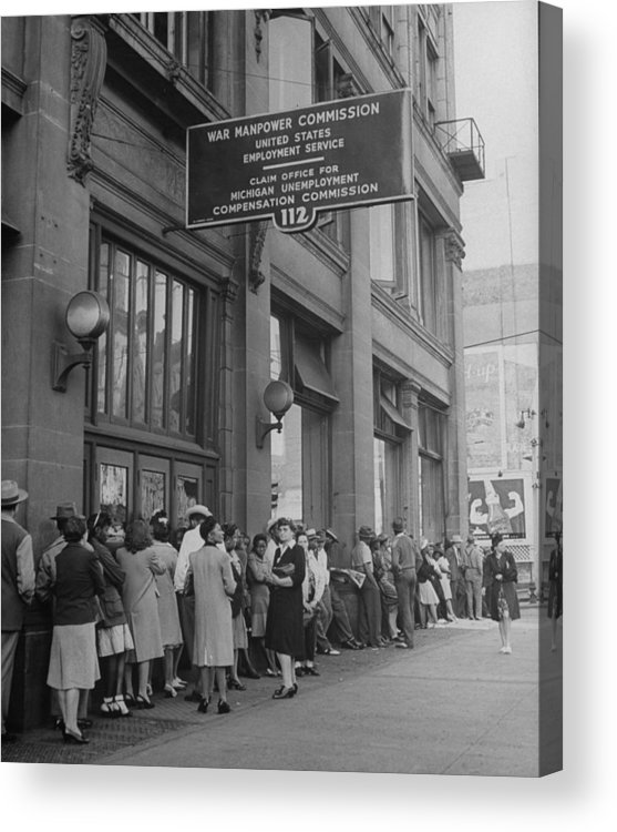Employment And Labor Acrylic Print featuring the photograph Workers Standing In Line At The Unemploy by William C. Shrout
