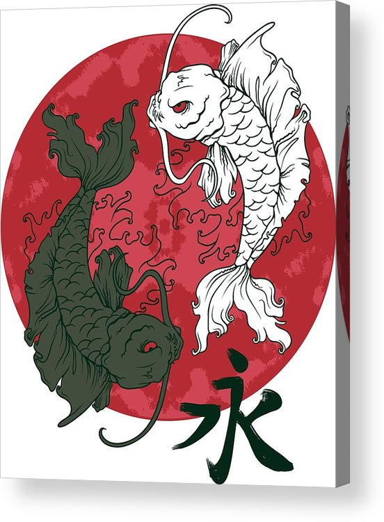 Japanese Acrylic Print featuring the digital art Yin Yang Koi Fish by Passion Loft