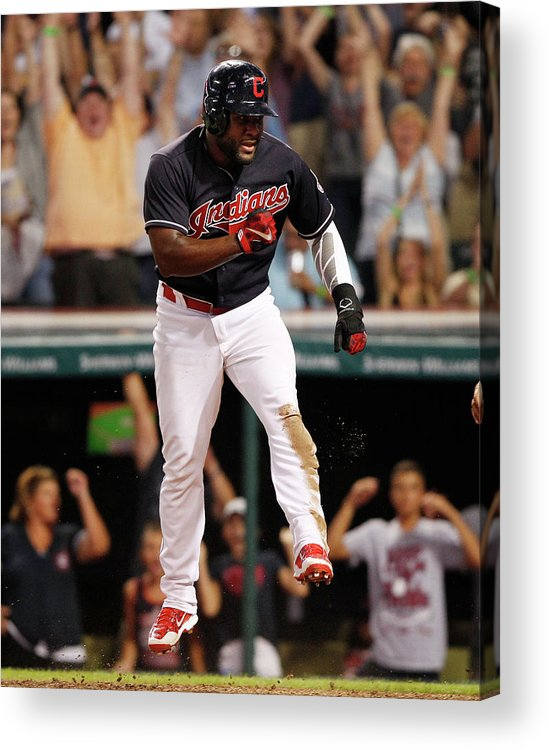 Ninth Inning Acrylic Print featuring the photograph Abraham Almonte And Tyler Naquin by David Maxwell