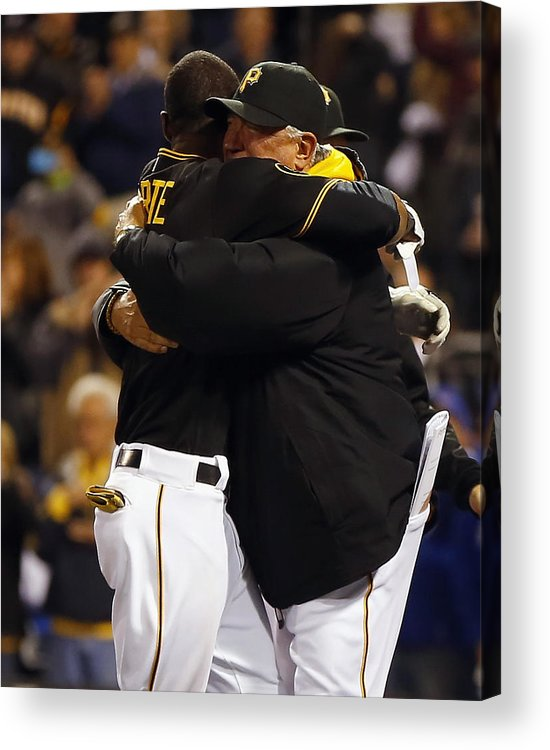 Ninth Inning Acrylic Print featuring the photograph Clint Hurdle And Starling Marte by Matt Sullivan