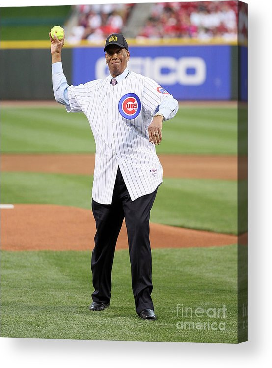 Great American Ball Park Acrylic Print featuring the photograph Ernie Banks by Andy Lyons