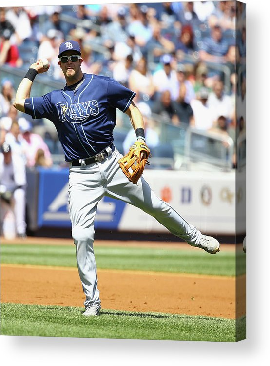 American League Baseball Acrylic Print featuring the photograph Evan Longoria And Chase Headley by Al Bello