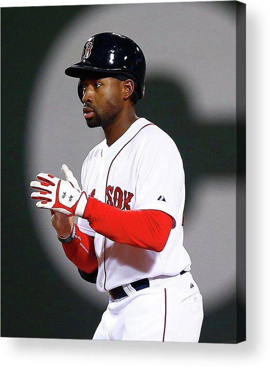 American League Baseball Acrylic Print featuring the photograph Jackie Bradley by Jared Wickerham