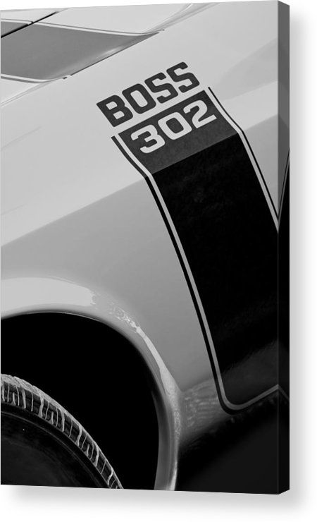1970 Ford Mustang Sportsroof Boss 302 Emblem Acrylic Print featuring the photograph 1970 Ford Mustang Sportsroof Boss 302 Emblem by Jill Reger