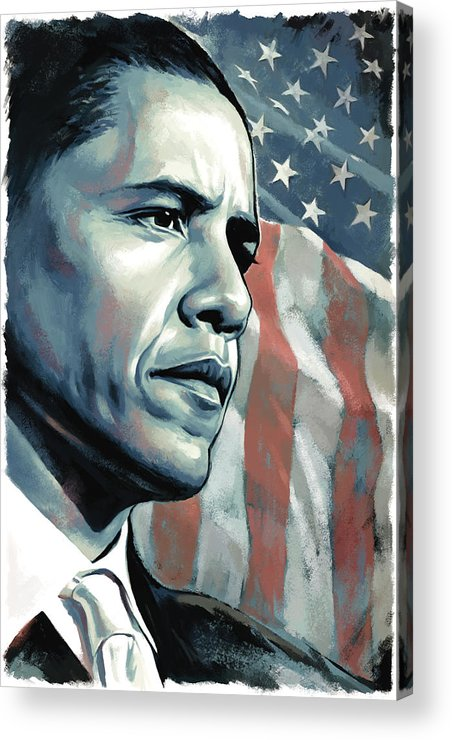 Barack Obama Paintings Acrylic Print featuring the painting Barack Obama Artwork 2 by Sheraz A